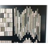 China Grey Wood Grain Mixed Manufacture Glass Mosaic Linear
