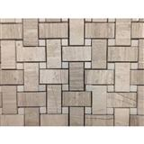 Woodvein Beige Marble Basketweave Mosaic Tile with White Marble