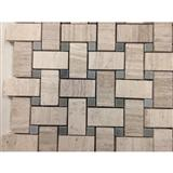 Woodvein Beige Marble Basketweave Mosaic Tile with Bardiglio Gray Dots